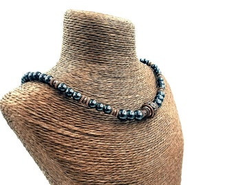 CHOKER Magnetic Therapy || Triple POWER Hematite Magnetic || Pure Copper Focal Bead || Migraine Therapy Necklace Free Gift Card and Bag