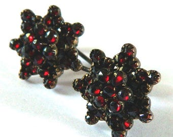 Antique Sterling Silver Garnet Cluster Earrings