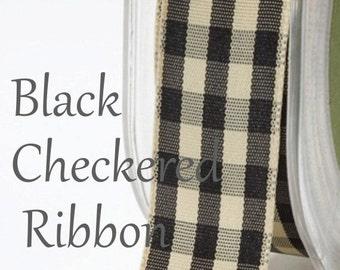 black checkered ribbon