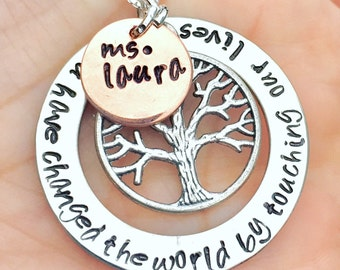 Teacher Gift, Teacher Necklace, You Have Changed The World By Touching Our Lives, Teacher Thank You Gift, Natashaloha