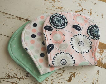 Floral, Dot and Triangle Burp Cloth Set, Mint Green, Light Pink, Lavender, Baby Burp Cloths