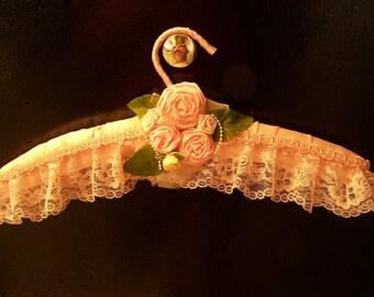 Bridal hanger, satin hanger, lace hanger, pink hanger, Maid of honor hanger. lingerie hanger