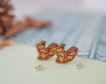 Squirrel Earrings, Squirrel Studs, Wooden Earrings, Geometric Studs, Squirrel Jewellery, Squirrel Gift, Sterling Silver Earrings