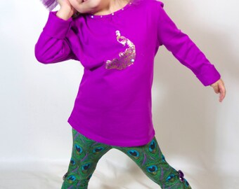 Adorable Toddler Peacock Bell Bottom Pants and Purple Crystal Top
