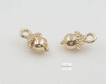 Holiday SALE-50 pcs 18k gold plated cute Tiny acorns charm, Autumn Jewerly Woodland Nature Pendant funny Giftcharms-F777jin