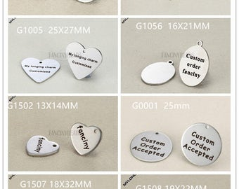 Ready to engrave-Your logo or words here--50 pcs custom order Laser Engraved stainless steel  charms-never fade or bauble