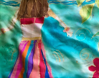 "Handpainted Medium Silk Pareo/Shawl by The Silk Maid ""Hula Girls"""