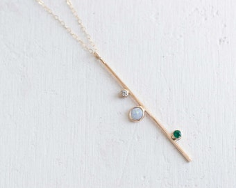 Opal, Emerald, + Diamond Bar Necklace | 14k Gold Necklace