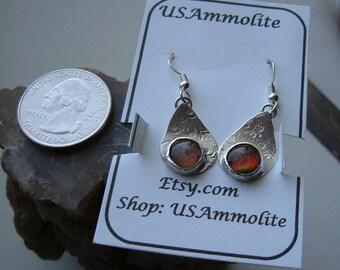 Red to Orange Gem Ammolite from Utah Deposit in .925 Sterling Silver Earrings 666