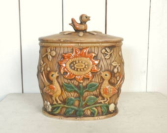 Lefton Cookie Jar - Birds and Sunflower Cookie Jar - 1950s Rare Mid Century Vintage Glazed Ceramic Canister