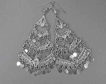 Vintage Chandelier Earrings, Filigree, Statement Earrings, Tiered Earrings, Dangle, Gypsy, Boho, Romantic Earrings, Tribal, Valentines Day