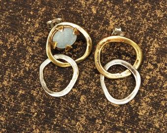 Aquamarine Earrings, Dangle Earrings, Links Asymmetric Earrings, Brass Aquamarine Boho Earrings, Silver Gold Drop Earrings, Gift for her