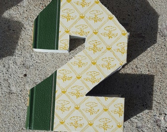 Upcycled Book Number Decor - 2 Two