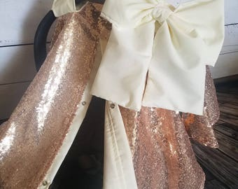 Carseat Cover Elegant Rose Gold Sequin Cover with Large bow nursing cover carseat canopy car seat cover