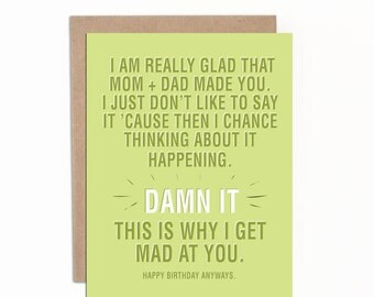 Funny Birthday Card  for Sibling, Card for Brother, Card for Sister, Hilarious Card, Joke Card, with Premium Kraft Envelope