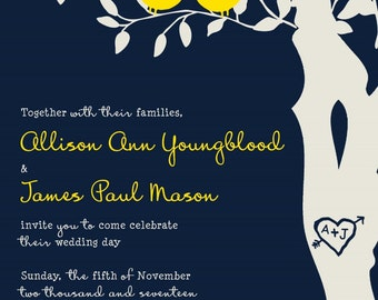 Custom Wedding Invitation listing for allisonayoungblood - Navy blue and yellow love birds in a tree