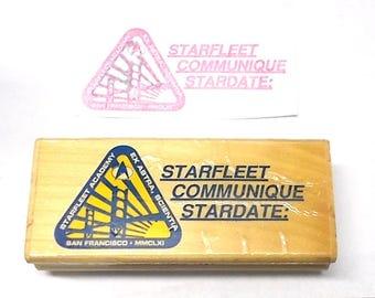 Vintage 90's Star Trek rubber stamp oasis Starfleet communique stardate captain's log MMCLXI San Francisco ST14-G Sciene Fiction space art