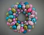 EASTER Wreath PASTEL Wreath Ornament Wreath--Multi-colored with 8 EGGS