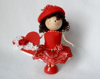 Valentine Art Doll, Clothespin Doll, Peg Doll, Box of Chocolates Doll, Valentine's Day, Pegtales