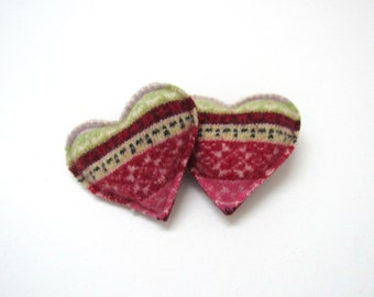 Hand Warmers Red and Cream Fair Multi Colored Isle Felted Wool Heart Rice Pocket Handwarmers Eco Friendly