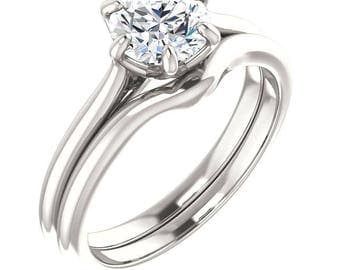 Forever One Colorless Moissanite Engagement Ring & Wedding band set  In 14k White Gold,ST234527 (Other Center stone option available_