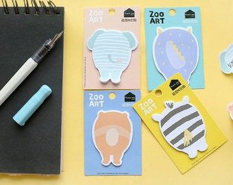 E020 Zoo Animal Art Sticky Notes, Post It Notes (Choose from 4 Designs), Stationery, kids sticky note, cartoon sticky note, children notes
