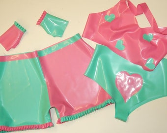 Latex Shorts, Bralet and Gauntlets, Latex Knickers and Fingerless Gloves