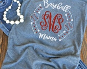 Baseball mama monogram - woman's graphic t-shirt - baseball mom - mom t-shirt