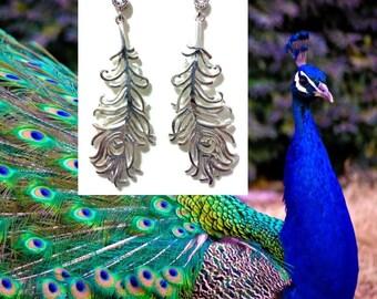 Boho Earrings, Peacock Earrings, Sterling Silver Bird Earrings, Dangle Earrings, Minimalist Jewelry, Bridesmaid Gift, Gift for Her, PAVO