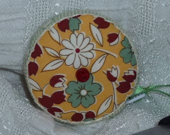 30's Reproduction Vintage look fabric, Retractable tape measure, covered with fabric