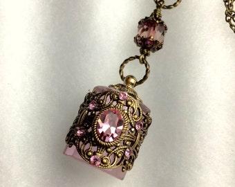 Vintage Inspired Brass Filigree Pink Crystal Perfume Bottle Necklace