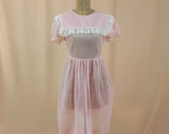 Vintage Childs Pink Dotted Swiss Dress * Girls Easter Dress * Flower Girl Dress * Pink Sheer Swiss Dot Dress * 1950s Dress * Lane Bryant