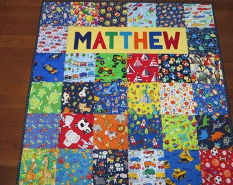 Personalized Quilt Boy or Girl Animal Quilt,  I Spy Quilt with Name,  Baby Quilt or   Toddler Quilt, One of a kind, Custom order, Handmade