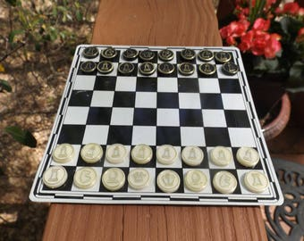 Travel pocket size Complete set of magnet chess or checkers with board.Board game.Vintage Toy Vintage Game Traditional Game  Gift