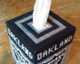 Oakland Raiders Plastic Canvas Tissue Box Cover
