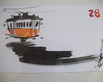 original pen and ink painting, LISBON TRAM no 28, Alfama, Lisbon Portugal, signed by artist