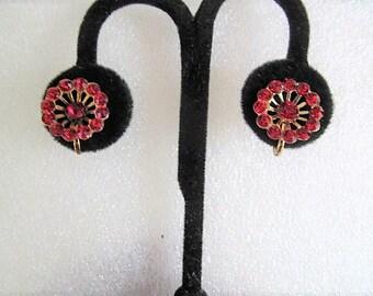 Vintage Ruby Red Rhinestone Earrings Screw Back