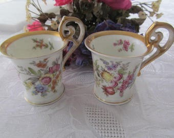 Vintage German Floral Demitasse Cups, Gold Trim