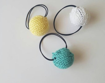 Cute Girls Knitted Pom Pom Hair Ties - 3 Pack!
