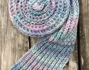 Winter Scarf, Knit Scarf, Ribbed Scarf, Hand Spun Wool, Fisherman's Rib