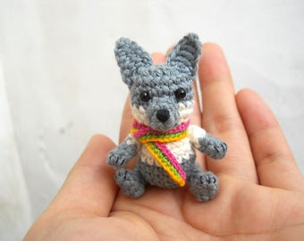 Mini Crochet Wolf - Miniature Dog Stuffed Animals - Made To Order