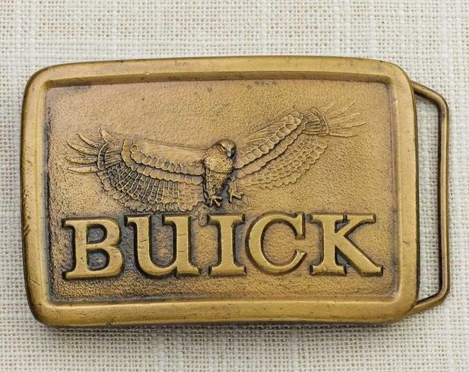 Buick Belt Buckle Eagle 1976 Indiana Metal Craft Brushed Gold Automobile Company Vintage Belt Buckle 7G