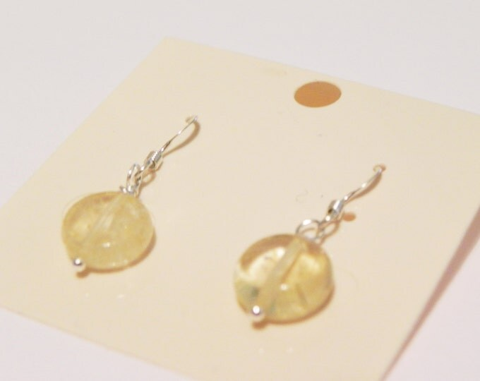 Citrine coin sterling silver gemstone drop earrings. November birthstone.