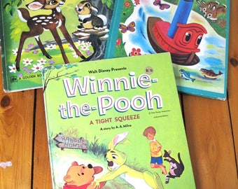 Three Oversized Golden Book Hard Cover Books/Winnie the Pooh/Bambi/Scuffy the Tugboat