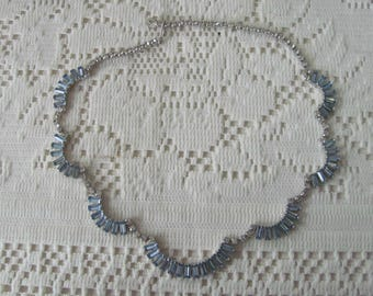 Vintage Rhinestone Necklace Blue Baguette Stones Something Blue