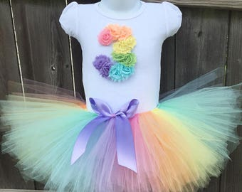 3rd Birthday Pastel Rainbow Tutu Outfit with Matching Headband for  | Third Birthday Birthday Rainbow Outfit