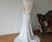 Cowl back sheath wedding dress sexy shape bridal gown on sale