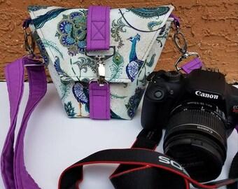 New Desgin-Camera bag-Canon camera-Small Camera-Digital SLR camera bag-Dslr camera case-purse-womens camera bag-PReTTY PEACOCK oN MAGENTA