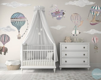 Medium Girl Set, 6 Hot Air Balloon Animals & 5 Clouds, Owl, nursery, baby, hand painted look, Reposition, fabric Wall decals, designer