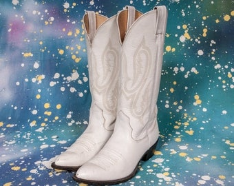 20%Off NOCONA White Cowboy Boots Women's Size 7 NARROW